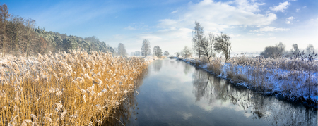 Panorama of river in spring thaws or in late winter, landscape