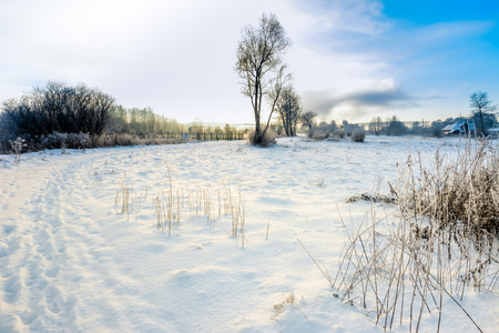 Snow on fields, snowy winter landscape Stock Photo