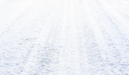 White road in winter, texture of snow, background Stock Photo