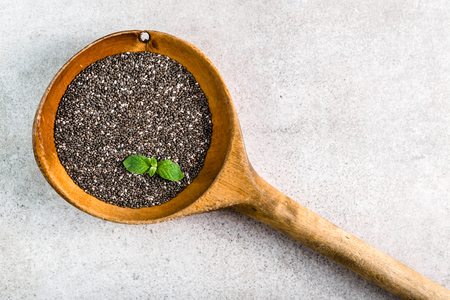 Healthy food - omega-3 source - top view of chia seed on white background