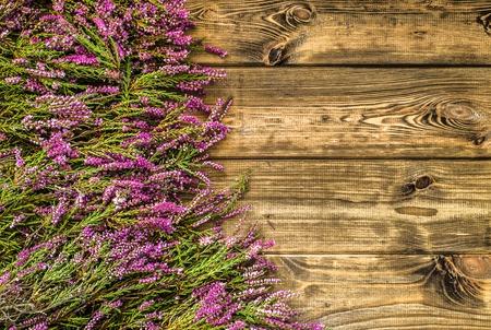 Heather bloemen, herfst achtergrond, floral frame