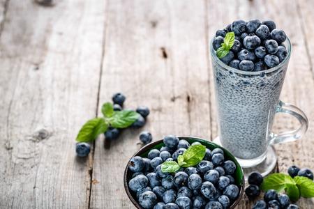 Antioxidant chia seeds pudding, healthy food superfood breakfast on table