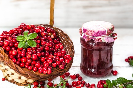 Berry jam in a jar on table, natural organic food - homemade preserve for winter Stock Photo