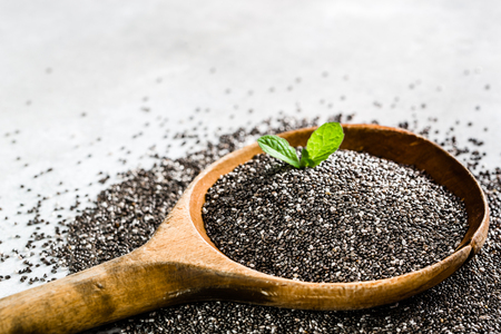 Healthy food - omega-3 source - chia seed on white background
