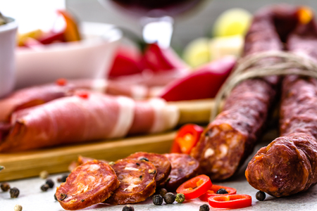 Chorizo sausage. Spanish tapas bar, traditional food from spain. 免版税图像