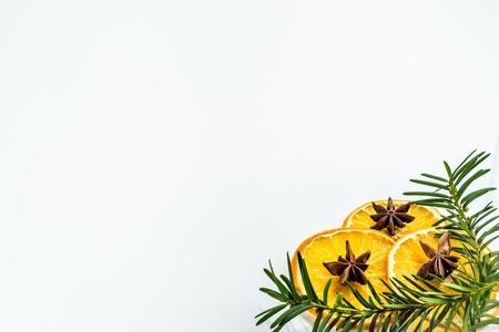 Dry orange slices on white background