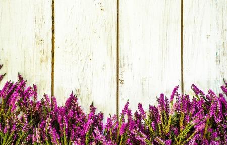 헤더 꽃, 가을 배경, 초라한 세련된 프레임 스톡 콘텐츠 - 89967992