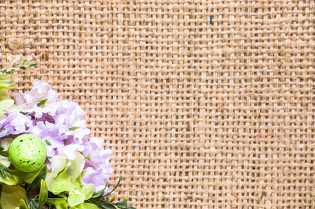 Easter backgrounds, flowers and easter eggs on decorative wreath Stok Fotoğraf