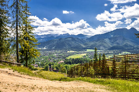 Landscape of mountains from the hiking trail to the top of mountain Gubalowka, view at valley Zakopane in the summer vacation Stok Fotoğraf - 90412445