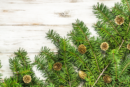 Green christmas tree branch decorated with pine cones on wooden background