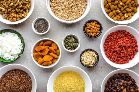 Ingredients of breakfast, healthy superfood on table, food selection, vegetarian diet concept