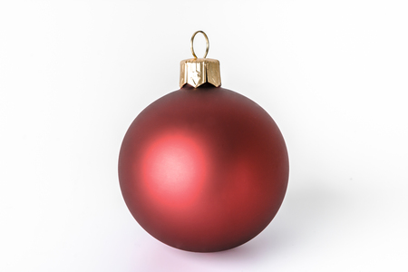 Red bauble, christmas ornaments isolated on white background.