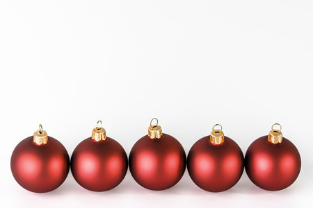 Christmas bauble, red ornament isolated on white background