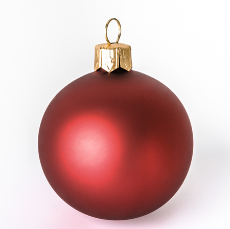 Christmas ball, red ornament isolated on white background