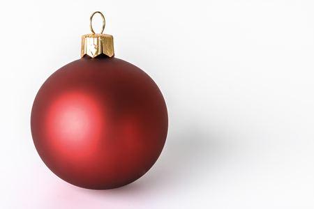 Red ornament, christmas ball isolated on white background Stock Photo