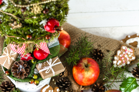 Christmas holiday background with food and decorations on table Stock Photo