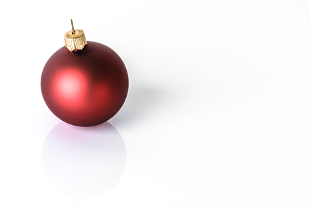 Red ornament, christmas bauble isolated on white background