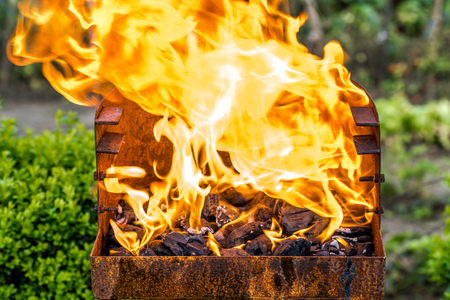 火のバーベキューグリル炎、庭で焼く炭を燃やす、草の上の夏のピクニック、外