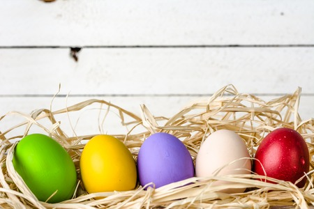 Easter background, seasonal colorful painted easter eggs on wooden white boards