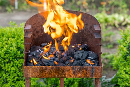 火と木炭でバーベキューグリル、庭で燃える炎、草の上の夏のピクニック、屋外 写真素材