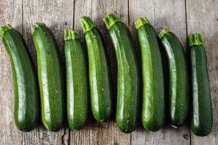 Fresh zucchini, green vegetables, farm fresh bio produce from farmer market Stock Photo