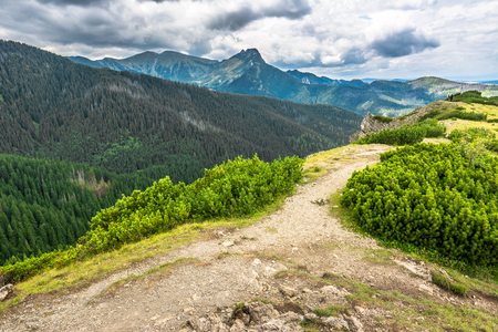 Mountain landscape, view of hiking trail in Poland, Tratra Mountains