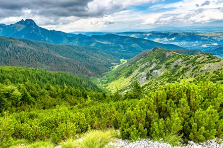 谷と山、空を背景に山の頂上と風景 写真素材