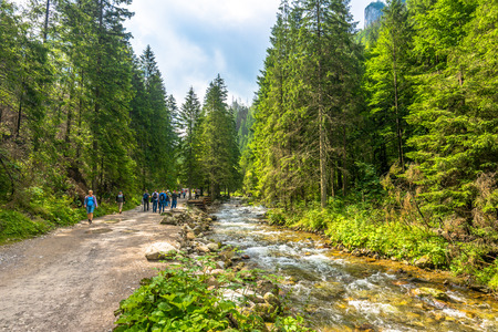 ZAKOPANE, POLAND - AUGUST 15, 2016: Mountain hikers on hiking trail along mountain river in Tatra Mountains