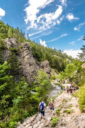 ZAKOPANE, POLAND - AUGUST 14, 2016: Vacation with family in mountains, hiking group on trail in green nature, summer landscape
