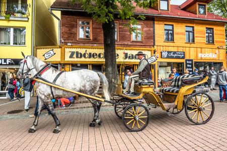 ZAKOPANE, POLAND - AUGUST 17, 2016: Touristic season in Zakopane, city center. Coachman with harnessed horse on the Krupowki street waiting for tourist Editorial