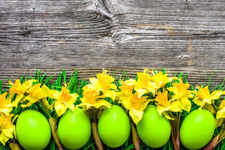 Easter eggs, background with colorful eggs and daffodils on wooden table