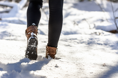 Walking in snow boots, winter fashion for women