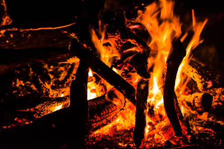 Night campfire. Burning wood with fire on black background. 写真素材