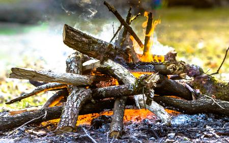 Summer bonfire on camp site