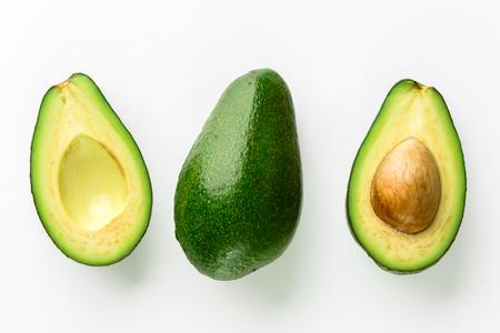 Avocado isolated on white background, closeup of avocados, top view Archivio Fotografico