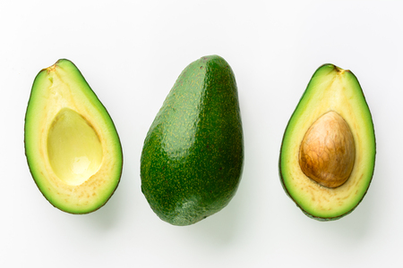 Avocado isolated on white background, closeup of avocados, top view Standard-Bild