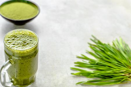 Healthy detox drink, green organic juice in jar