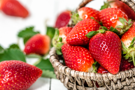 Farm fresh strawberry, organic dessert strawberries in the basket