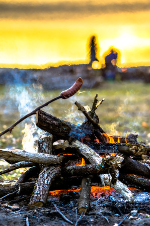 Friends on camping with campfire and sausages, camp in the wild