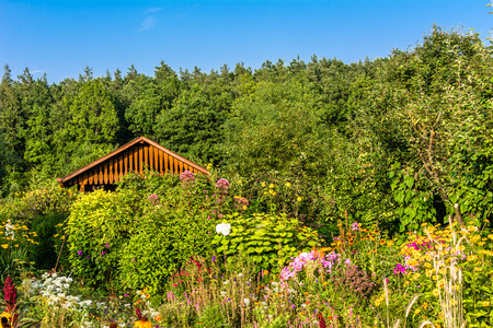 Wooden cottage in garden scenery with a small garden house, flowers and trees
