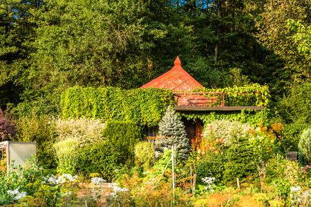 Summer house in the garden. Rural cottage in countryside. Stockfoto