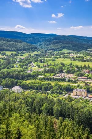 Green valley, town landscape, scenic nature, aerial view