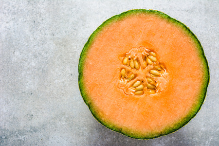 Cut of melon, fresh cantaloupe melons slice, top view