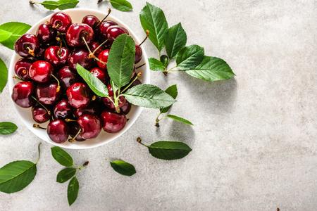 Sweet cherries. Fresh organic cherry fruit, top view
