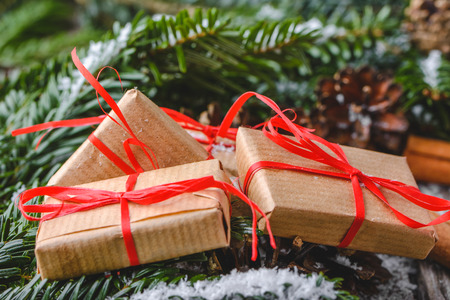 Christmas present boxes. Gifts under tree. Christmas background.