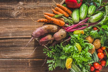 Assortment of fresh organic vegetables harvested in the garden. Bio produce on farmer market, vegetable box on wooden background