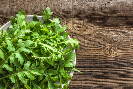 Fresh arugula on plate, rucola salad, healthy food and clean eating concept