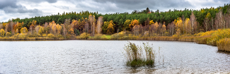 Lake panorama and autumn forest with colorful trees, scenic landscape