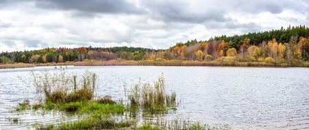 Wild lake in autumn, panorama