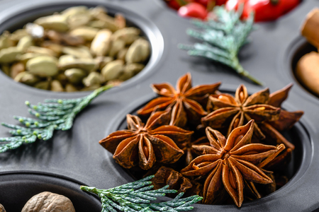 Star anise. Christmas spice for baking, food background Stock Photo